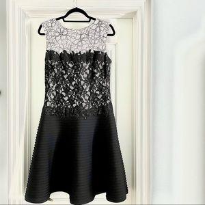 Tadashi Shoji white + black Lace Dress size 10
